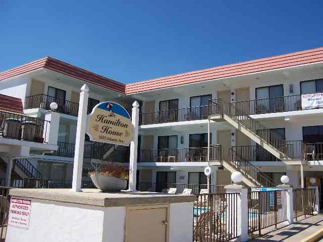 1800 ATLANTIC AVENUE - HAMILTON HOUSE CONDOS UNIT 102 - Two bedroom, one bath condo located at the Hamilton House Condominiums in North Wildwood. 3 Blocks to the beach and boardwalk! Condo has a kitchen with stovetop, fridge, microwave, toaster. Amenities include wall a/c, common washer/dryer, grill, pool, outside shower, wifi, and one car off street parking. Sleeps 6; 2 queen beds and queen sleep sofa.