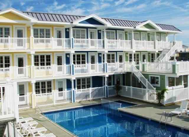 Alps Condo Rentals in Wildwood Crest at 7100 Seaview Avenue offered by Island Realty Group. 1 bedroom 1 bath corner unit with pool and multiple sundecks. Sleeps 6.
