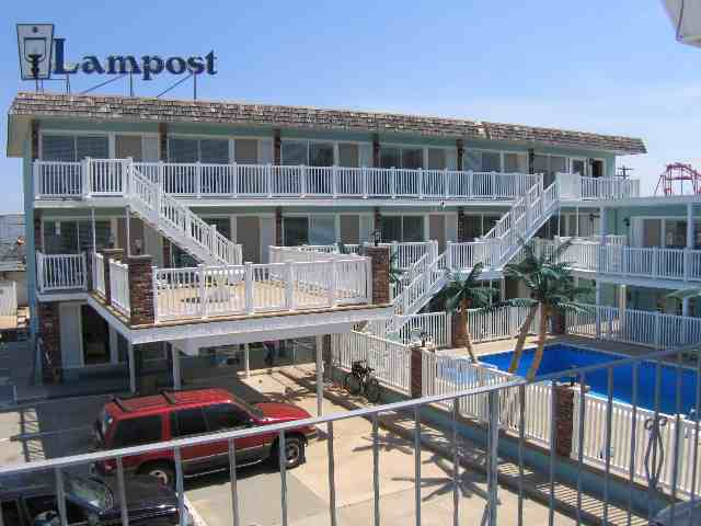 LAMPOST CONDOS AT THE BOARDWALK IN NORTH WILDWOOD - 442 East 21st Avenue Unit 108 - You can t get much closer than this to the beautiful beach and boardwalk of North Wildwood. Amenities include pool, outside shower, coin op washer/dryer, wall a/c, wifi internet connection, 3 televisions and DVD for your enjoyment. Kitchen has fridge, range, stovetop, microwave, coffeemaker. Sleeps 6, 2 queen beds and double sleep sofa.